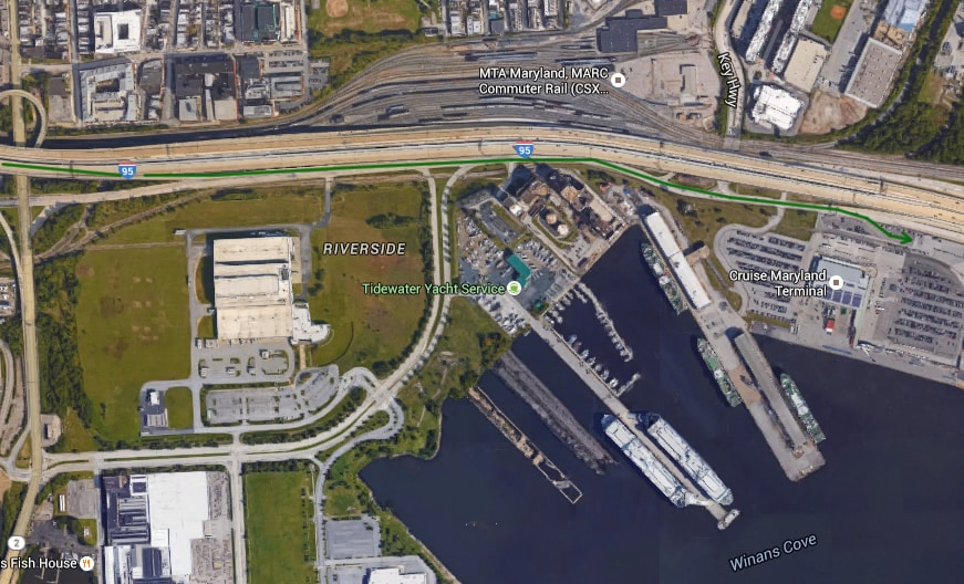 Baltimore cruise port directions map