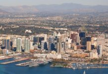 Downtown aerial shot of San Diego