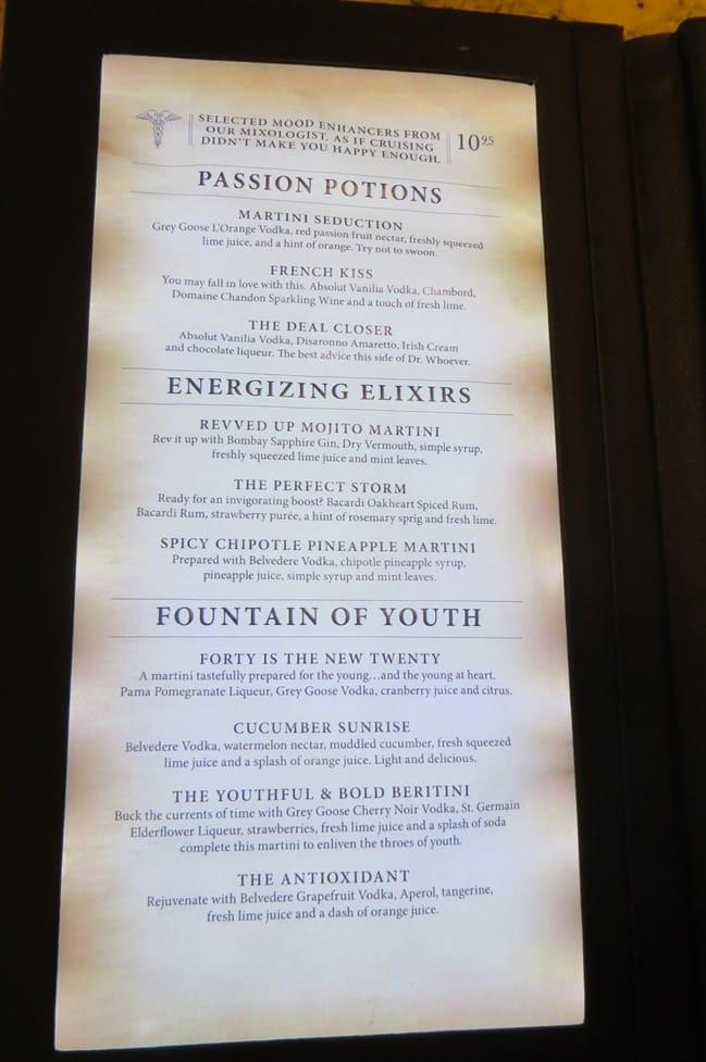 Alchemy bar menu