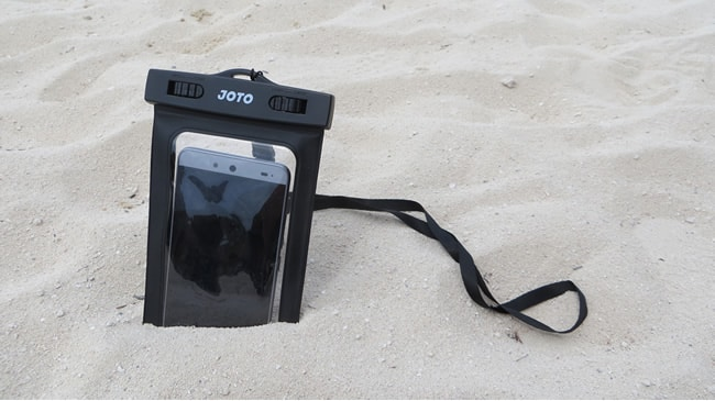 Waterproof phone case in sand