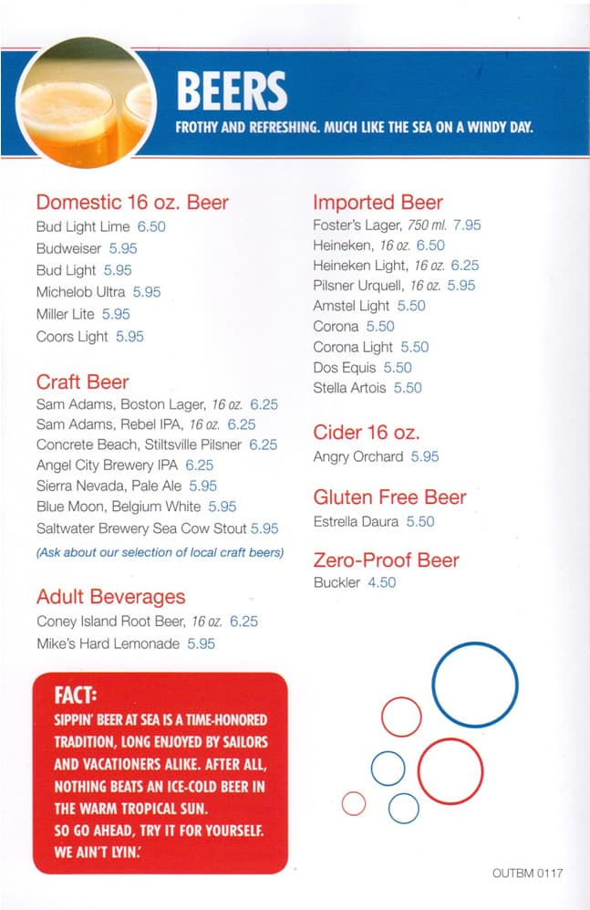 Carnival Cruise beer menu with prices