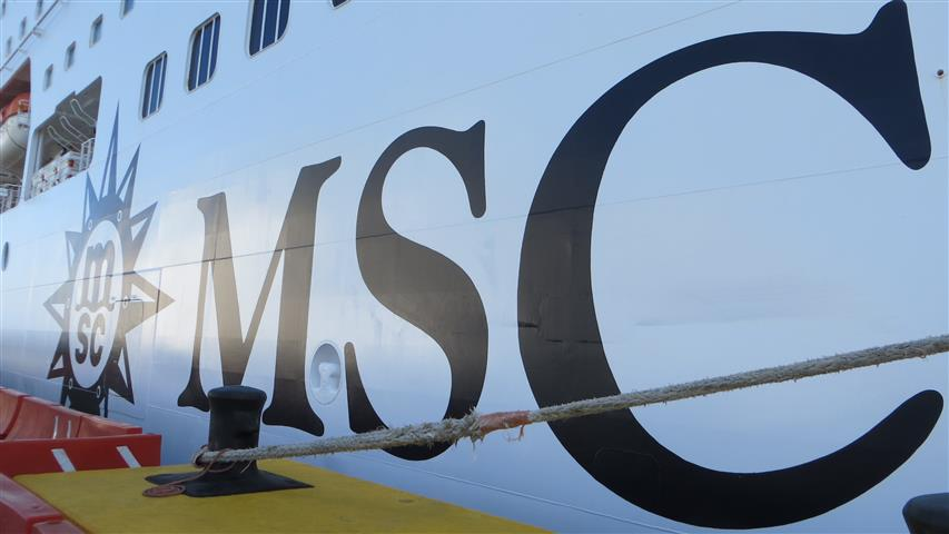 MSC on side of ship