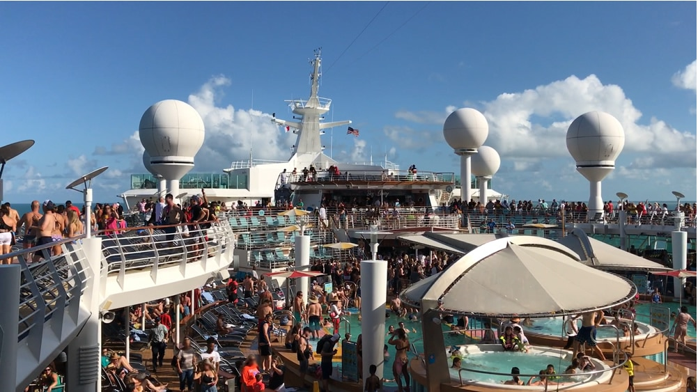 Crowd on a cruise ship