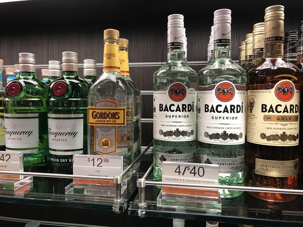 Discounted alcohol in a duty-free cruise shop