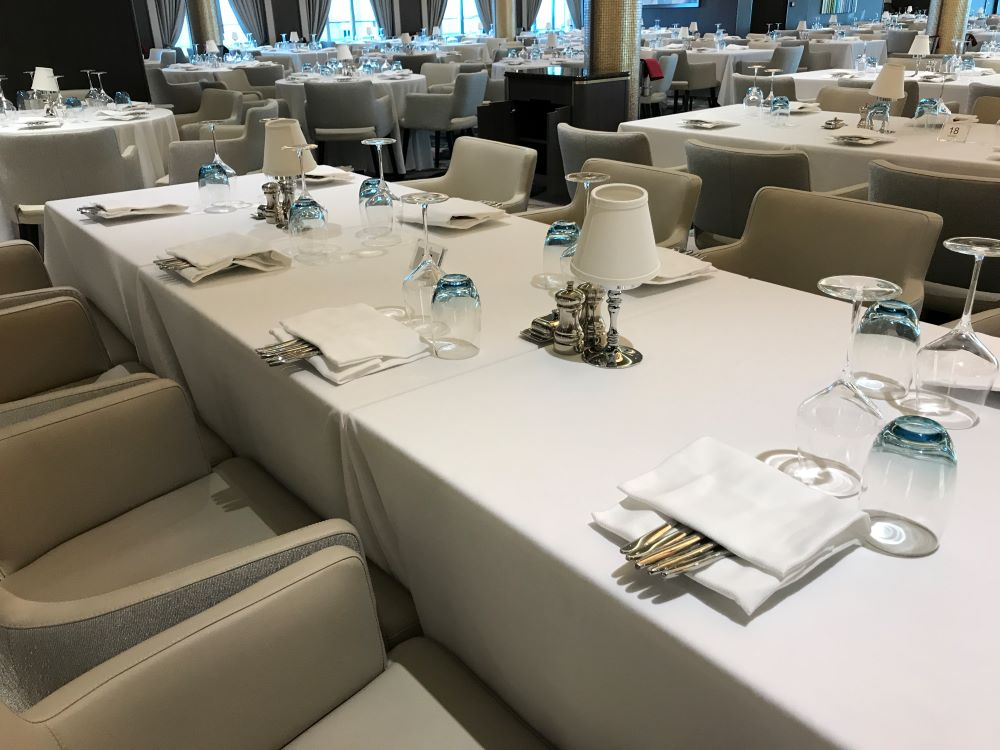 Formal dining room on a cruise ship