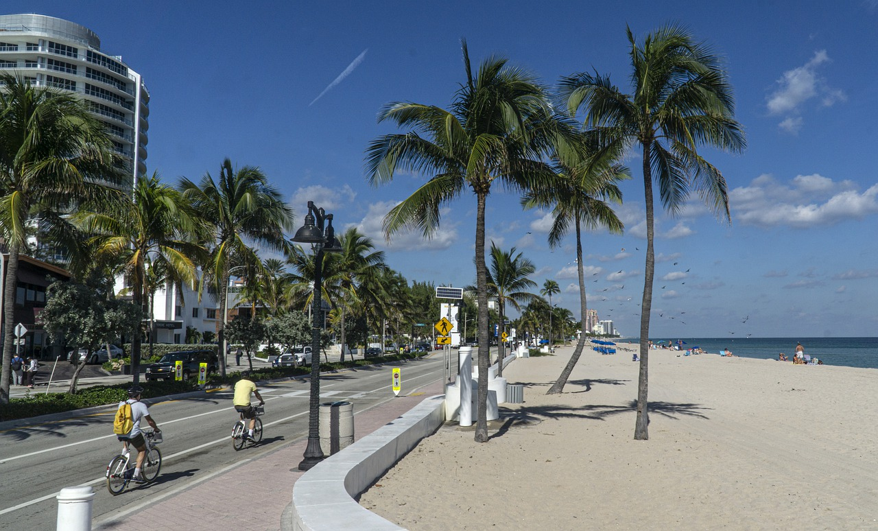 Fort Lauderdale beach view with hotels