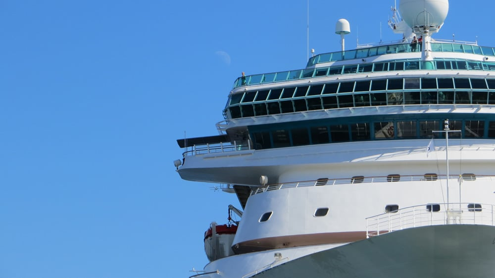 Royal Caribbean ship bow in port