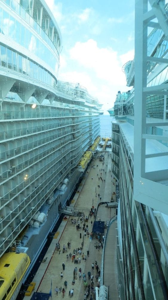 canyon created between two cruise ships