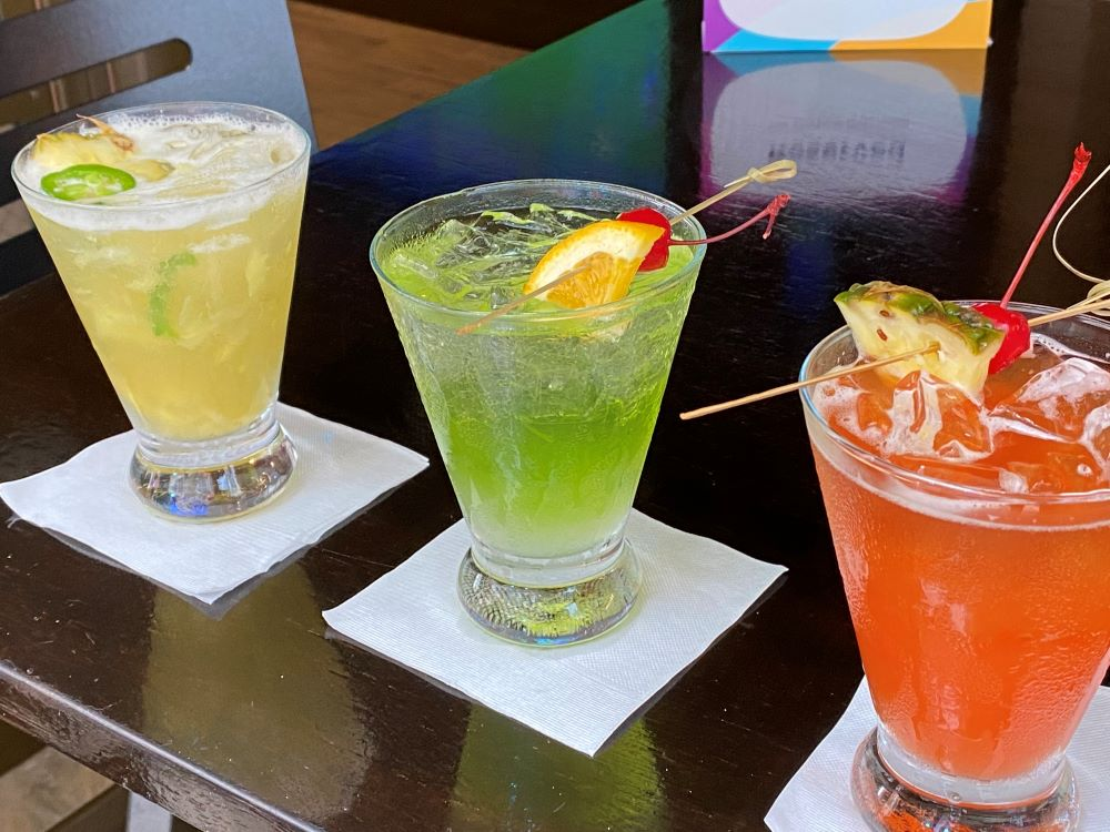 Tropical drinks on a cruise